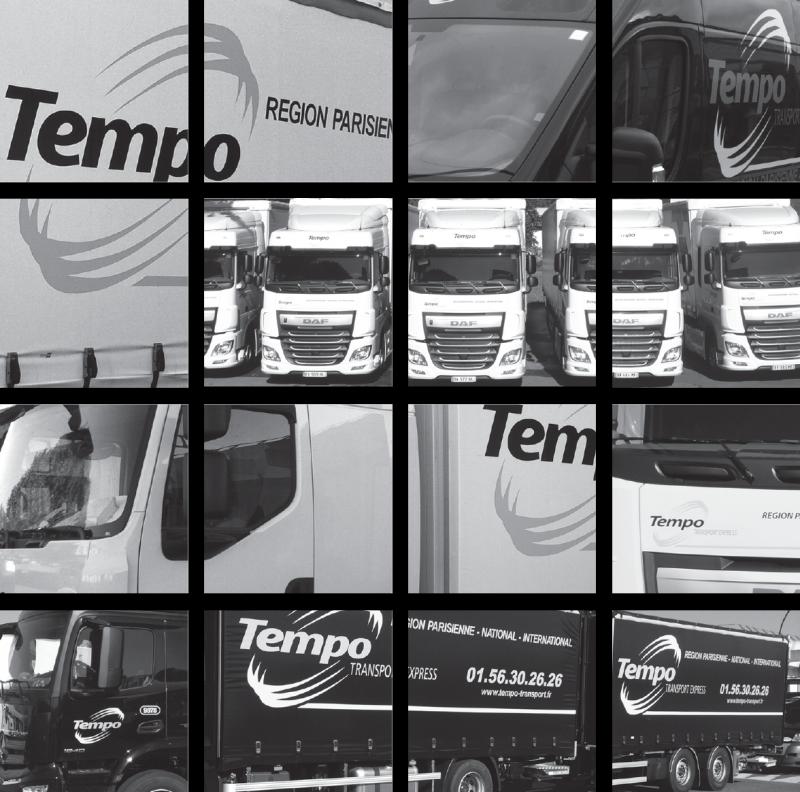 Mosaïque de photos de camion carré